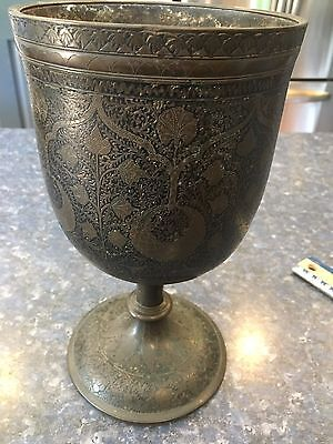 Chinese Bronze  Handwork Carved Goblet Wine Cup