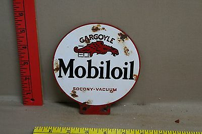 Vintage 2 Sided Mobiloil Gargoyle Metal Lubester Sign Gas Oil Service Station