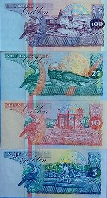 SURINAME 1996/98 5 10 25 100 Gulden GREAT COLOURFUL UNCIRCULATED BANKNOTES