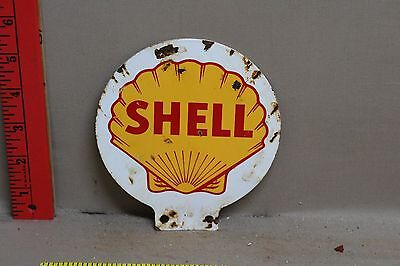 Vintage 2 Sided Shell Metal Lubester Sign Gas Oil Service Station