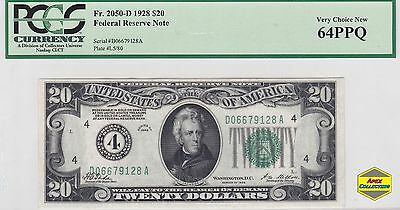 Numerical 1928 $20 Federal Reserve Note PCGS 63 PPQ 2050-D FRN Gold Clause Rare