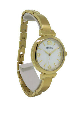 Bulova 97L136 Women's Round Mother of Pearl Bangle Style Gold Tone Analog Watch