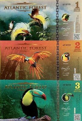 NEW ATLANTIC FOREST 2016 1 2 3 Aves GREAT FANTASY UNCIRCULATED BANKNOTES NEW