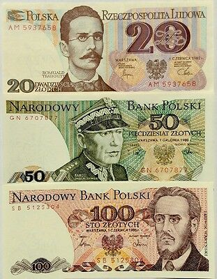 POLAND 20 50 100 ZLOTYCH 1980s ISSUE GREAT SET Of UNCIRCULATED BANKNOTES