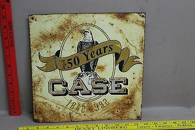 Vintage Embossed 150 Years Case Tin Tacker Sign Gas Oil Station Tractor
