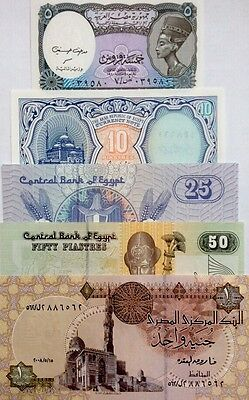 EGYPT 2006 08 SET 5 10 25 50 piastres & 1 POUND GREAT UNCIRCULATED BANKNOTES