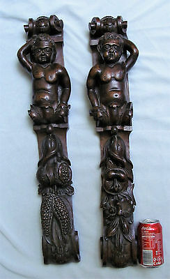 19th c wood Caryatid  Cherub pair  Architectural ornament French Carved Baroque