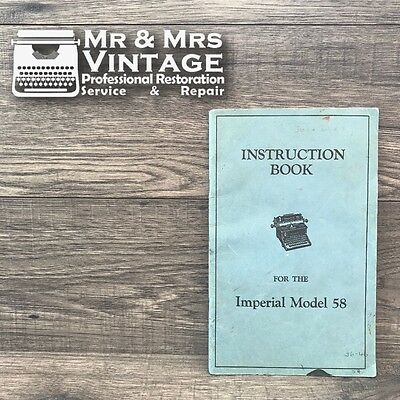 Original Imperial 58 Typewriters Manual Book User Instructions Rare Desk Office