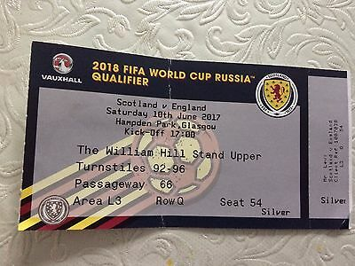 Scotland v England- 10th June 2017-2018 FIFA WORLD CUP QUALIFIER- TICKET STUB
