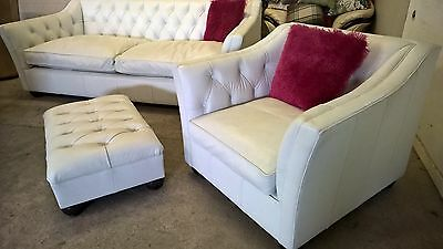 Tetrad White Leather 3 Piece Suite  sofa & Armchair & Footstool Poss Delivery