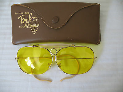 Vintage Bausch & Lomb Ray Ban Aviator Shooting Glasses Yellow Lens Gold Filled