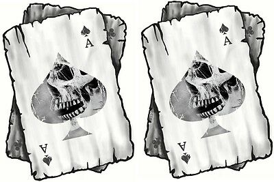 Distressed ACE OF SPADES Skull Side Playing Cards Biker vinyl Helmet Car sticker