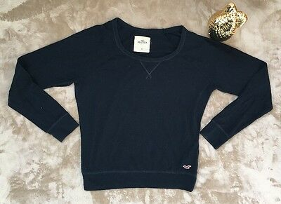Hollister Womens Shirt Knit Top Sz S Stretch Long Sleeve Blue Casual Basic T1