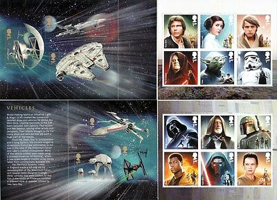 GB stamps STAR WARS 4 panes MNH from DY15 Prestige Booklet 2015