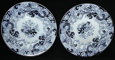"""Antique 10 1/2"""" Flow Blue Plates - Unknown Maker - Pagoda Pattern"""