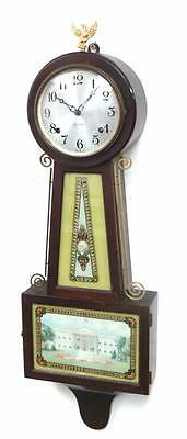 Presidential American Banjo Antique Striking 8 Day Wall Clock By Sessions C1880
