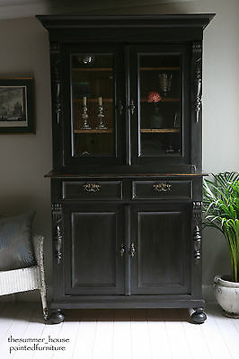 Stunning Antique French Farmhouse Glazed Dresser Cupboard Painted in Graphite