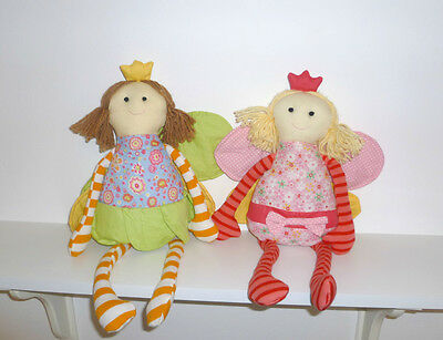 Two Fairies and Princesses - Fabric and Wool Dolls - Toys and Decoration - Hadas