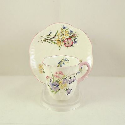 Shelley Wild Flowers Pink Dainty Shape Coffee Cup & Saucer circa 1945