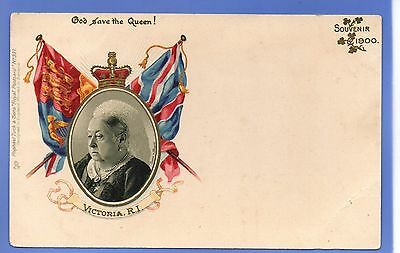 Old Vintage Tuck Embossed Postcard Queen Victoria Flags God Save The Queen