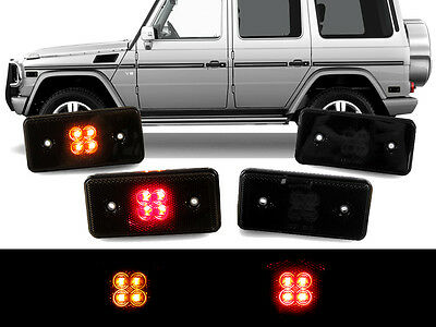 4 Piece F+R Smoke LED Side Marker Lights For 2002-14 Mercedes W463 G Wagon Class