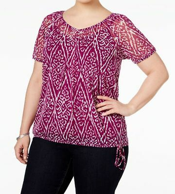 5747c994e76ec INC International Concepts Plus Size 2-Piece Printed Blouson Top Ikat  Womens 0X