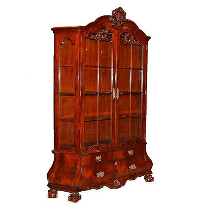 Dutch style Bombe china display cabinet traditional mahogany with LED lights