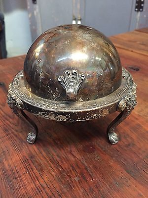 1883 F B Rogers Silver Co Roll Top Silver Plated Butter/Caviar Dish