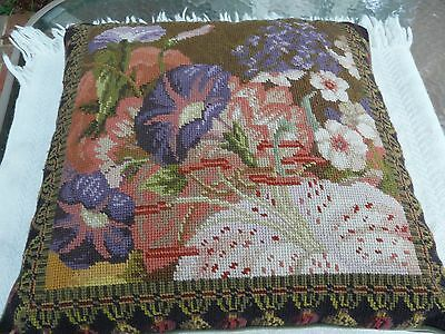 Vintage large handmade Floral Needlepoint pillow square throw pillow