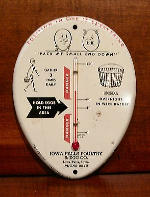 Vintage Iowa Falls Poultry & Egg Co. Advertising Egg Thermometer 1960s