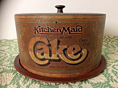 Mid Century VTG 70's Ballonoff Kitchen Maid Metal Covered Cake Container Plate