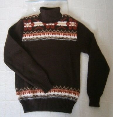 "Vintage Polo-Neck Jumper - 30"" Chest Approx - Brown Chunky Fairisle -  New"