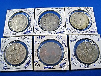 GREAT BRITAIN - LOT OF  6 - 1/2 CROWN COINS     (skgbl5)