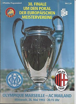 1993 Champions League Final AC Milan v Marseille Very Good Condition