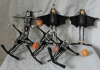 """Lot Of Six Halloween Ornaments Cats In Costume Bat and Skeleton 6"""" Tall"""
