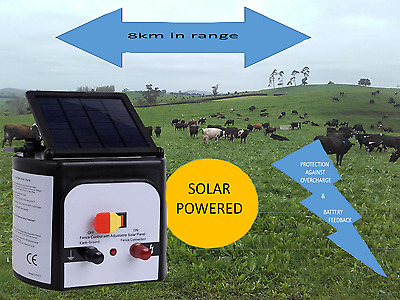Solar Electric Fence Unit Charger Controller Farm 8km Cattle Horse Goat Sheep