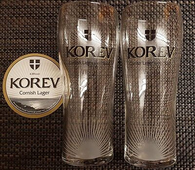 Korev Cornish Lager Pint Glass set x2 BRAND NEW
