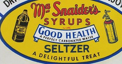 Vintage Ma Snaider's Syrups Decal -- New Old Stock