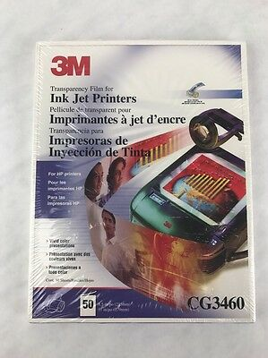 NEW 3M CG3460 TRANSPARENCY FILM  INK JET PRINTERS 50 Sheets 8.5 x 11 overhead