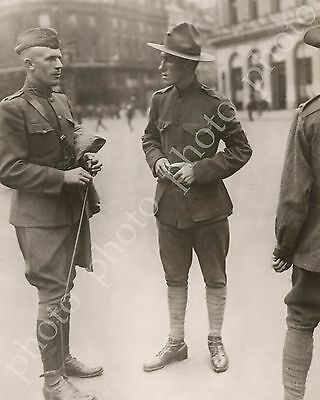 WW1 Photo US Marine Military Policeman MP Directing Soldiers in Paris France