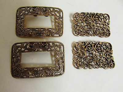 Lot of 2 Pair of Vintage Gold /Brass Tone Shoe Buckles