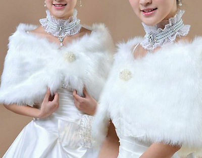 Elegant Ivory Plush Faux Fur Wrap Shrug Shawl Cape Bridal Wedding Jacket