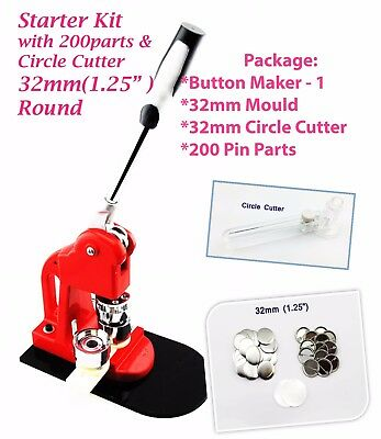 """32mm(1.25"""") Button maker-1 + 32mm Mould + 200 pin parts + Circle cutter"""