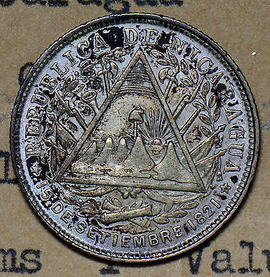 N0078 Nicaragua 1887 20 Centavos silver AU rare in this grade combine shipping