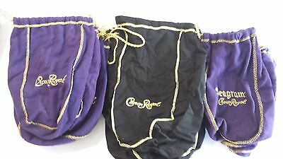 Lot of Crown Royal Bags Purple Black Seagrams Cloth Pull String Crafts Liquor