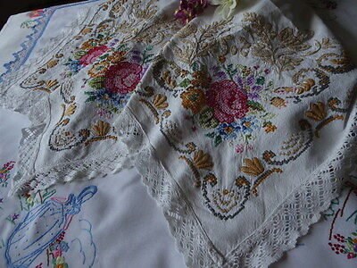 Vintage Hand Embroidered Linen Tablecloth/stunning  Cross Stitch Floral Bouquets