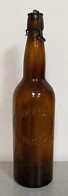 RARE ANTIQUE 1890s SWEDISH BREWING CO BEER BOTTLE MARINETTE WI LIGHTNING STOPPER