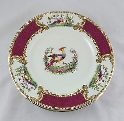 "Set of 6 Vintage Art Deco Myott Staffordshire ""Chelsea Bird"" Red Salad Plates"