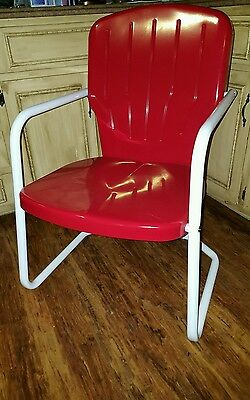 Retro Metal RED Vintage Patio Furniture Lawn Deck Outdoor Chairs NEW