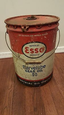 Vintage Imperial Oil Esso Products Marvelube Gear 5 Gallon Bucket Can Tin Canada